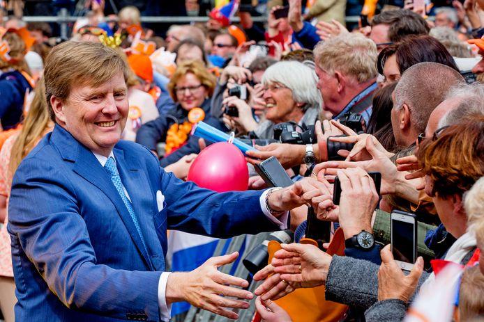 Koning Willem-Alexander tijdens Koningsdag 2018 in Groningen.