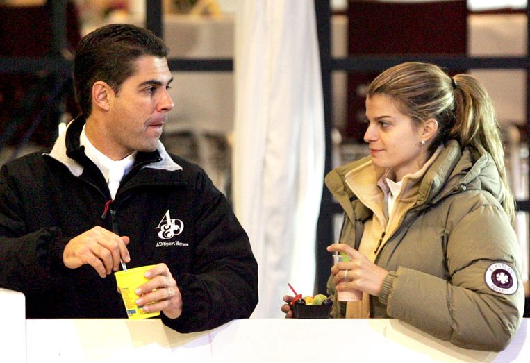 Athina Onassis en haar Braziliaanse ex-man Alvaro Affonso de Miranda Neto, ook bekend als Doda in 2006 bij Jumping Hasselt. Beeld ANP