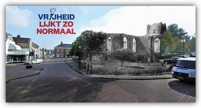 Beeld van de FB-pagina Klundert in Vroeger Tijden, oud en nieuw in elkaar gemonteerd rond de herdenking van de Tweede Wereldoorlog.