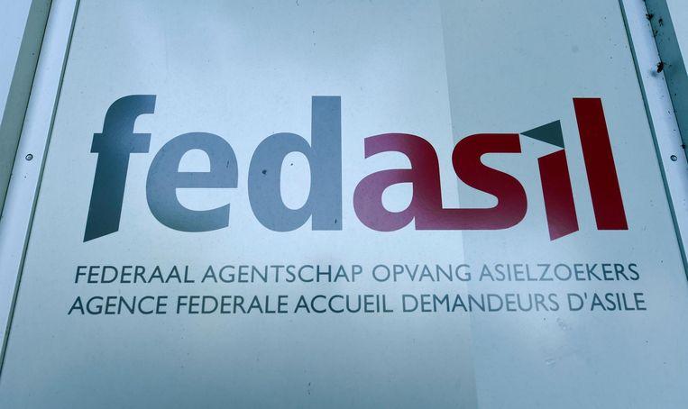 Het logo van het federaal agentschap voor de opvang van asielzoekers.