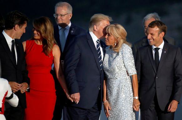 Justin Trudeau en Melania Trump leken het goed met elkaar te kunnen vinden vorig jaar in augustus op de G7-top in het Franse Biarritz.