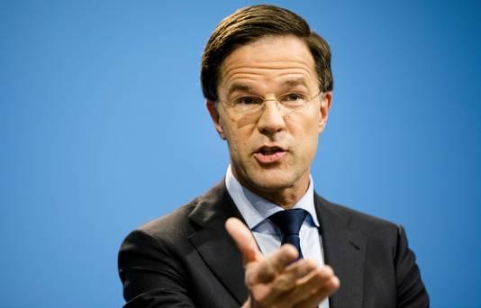 Premier Mark Rutte tijdens zijn wekelijkse persconferentie na afloop van de ministerraad.