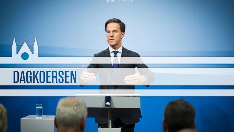 Rutte tijdens zijn wekelijkse persconferentie in Nieuwspoort. Beeld ANP