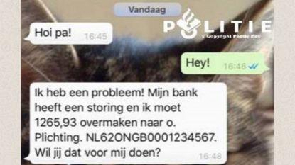 Gezin 1.000 euro armer nadat 'dochter' via WhatsApp om hulp vraagt