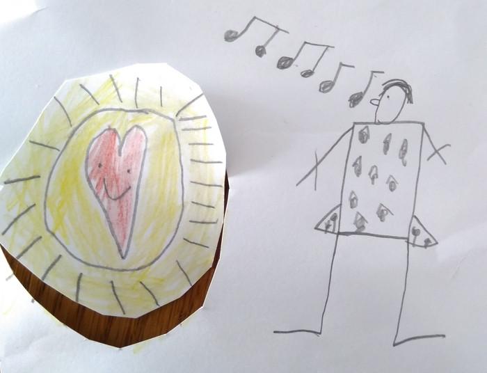 'Deze tekening is gemaakt door Lars Hanegraaf die vandaag 7 jaar oud geworden is. Op de tekening staat niet het corona virus maar het HAPPY virus. Heel besmettelijk maar gelukkig heel fijn om te krijgen. Hier in huis heerst het ook!'