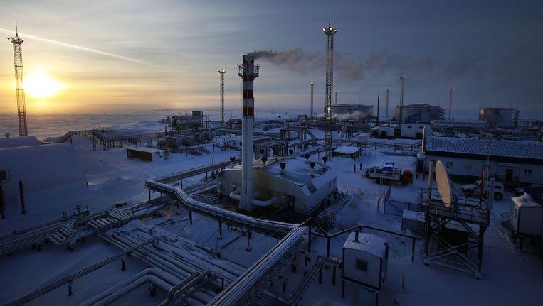 Een installatie van het Russische Gazprom, het grootste aardgasbedrijf ter wereld dat ook aan veel Europese landen levert. Beeld afp