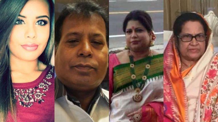 Malesa Zaman (21), de zus van de dader. Zijn vader Moniruz Zaman (59) en moeder Momotaz Begum (50). Rechts zijn grootmoeder Firoza Begum (70).