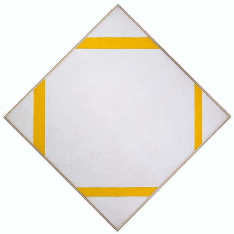 Piet Mondriaan, Compositie met gele lijnen (1913). Beeld Gemeentemuseum Den Haag