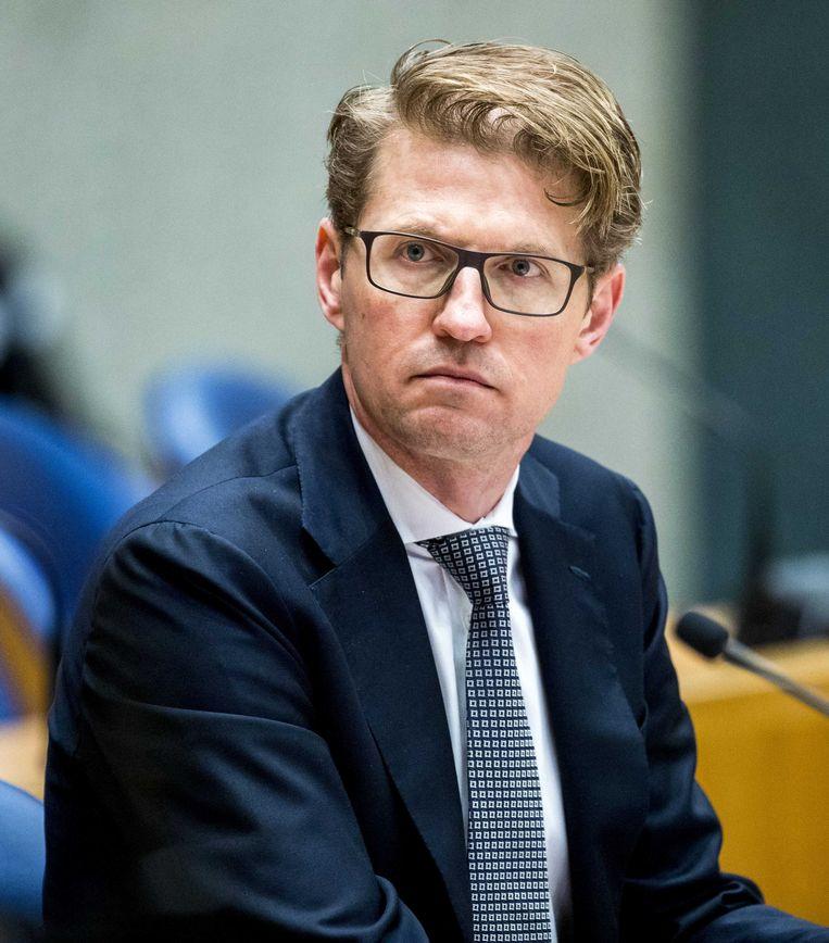 Minister Sander Dekker voor Rechtsbescherming (VVD) tijdens het Vragenuurtje in de Tweede Kamer. Beeld ANP