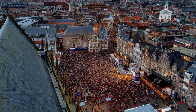 Overzicht van de Grote Markt in Haarlem tijdens 3FM Serious Request 2014. Beeld anp