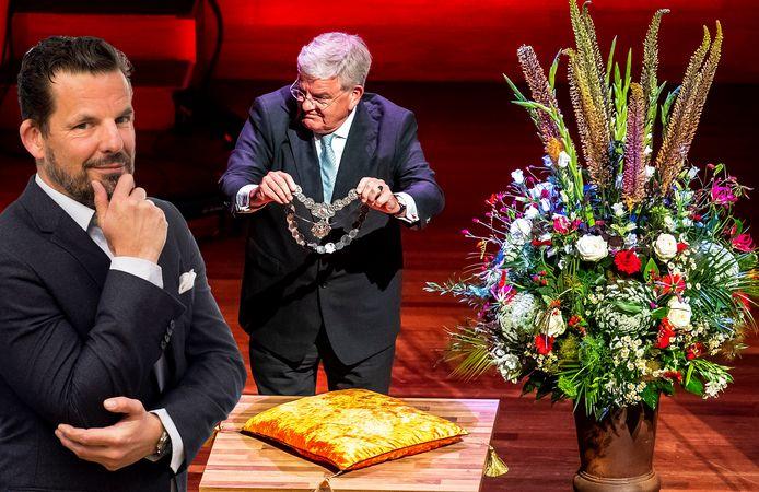 Burgemeester van Utrecht Jan van Zanen neemt tijdens een buitengewone raadsvergadering in de grote zaal van Tivoli Vredenburg afscheid van Utrecht. Inzet: Jerry Goossens.