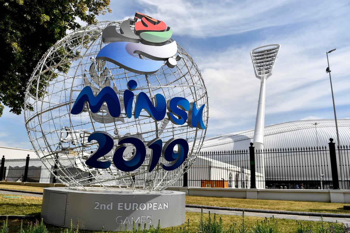 Het logo van de Europese Spelen in Minsk.