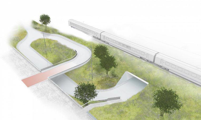 Beeld van hoe de fietstunnel aan de Dampoort er zal uitzien.