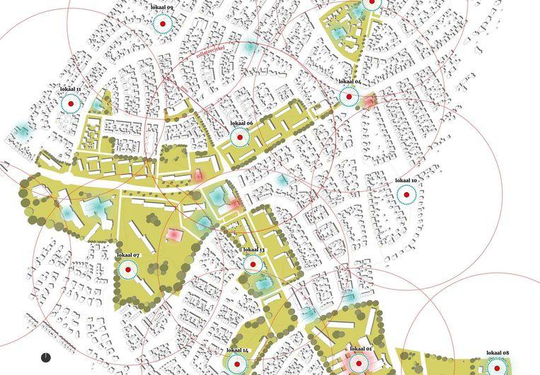 In het plan van Paul Verhorst van Arches zijn cirkels van 300 meter over Geleen-Zuid gelegd. De rollatorcirkels moeten de afstand tot voorzieningen gevoelsmatig kleiner maken. Vrijwilligers gaan een grote rol spelen. Beeld de Volkskrant