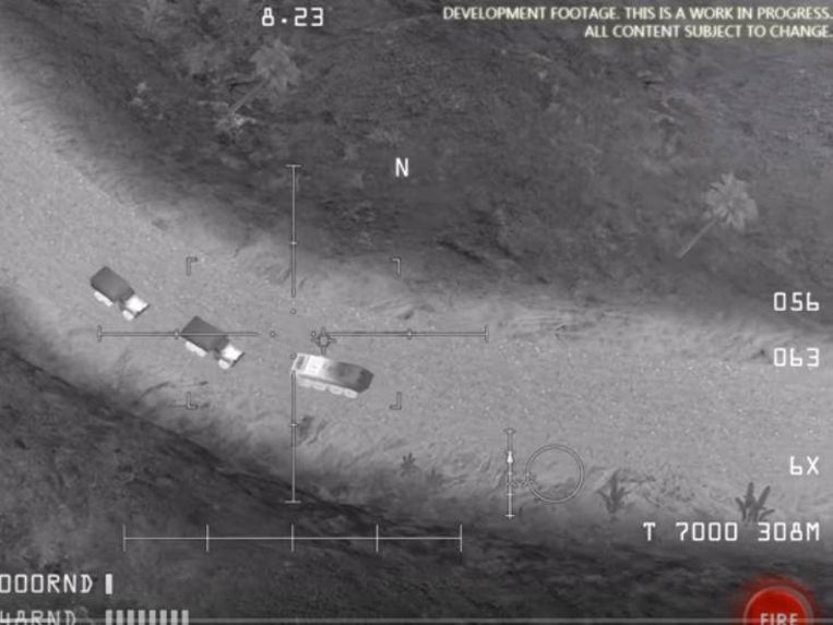 Een scène uit de smartphonegame AC-130 Gunship Simulator. Het Russische ministerie van Defensie gebruikte onder meer dit beeld om hun aantijgingen tegen de VS te staven.