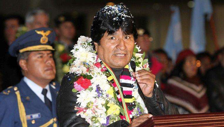De president van Bolivia, Evo Morales, vandaag bij aankomst in La Paz. Beeld epa