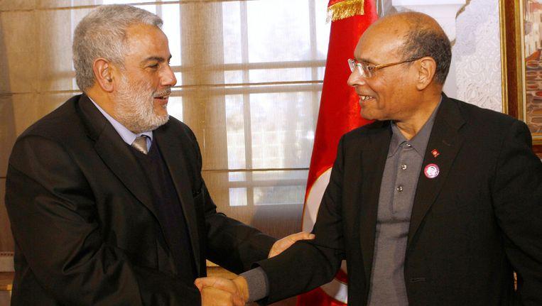 Politiek blijft nog voornamelijk een mannenzaak in de Arabische landen. Hier de Tunesische president Marzouki (R) met de Marokkaanse regeringsleider Benkirane.