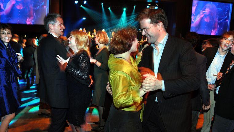 Edith Schippers en Mark Rutte in 2008. Beeld Joost van den Broek