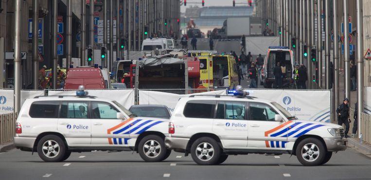 De Wetstraat in Brussel, waar veel regeringsgebouwen liggen. Beeld epa
