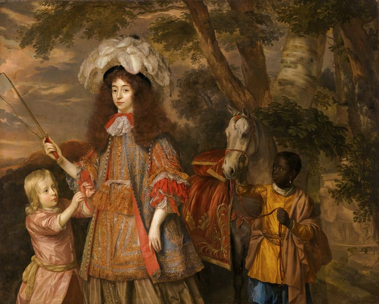 Portret van Maria van Oranje (1642-1688), met Hendrik van Nassau-Zuylestein (overleden in 1673) en een bediende, c. 1665 door Jan Mijtens.  Beeld Margareta Svensson / Collectie Mauritshuis Den Haag Collectie Mauritshuis Den Haag