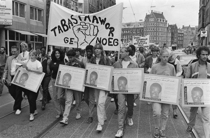 1983, demonstraties in Amsterdam na de moord op Kerwin Duinmeijer.
