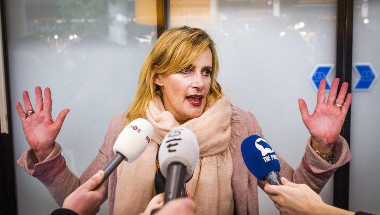 Rena Netjes bij aankomst op Schiphol, nadat Egypte een strafzaak tegen haar startte. Beeld anp