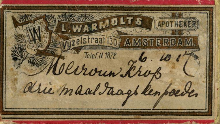 Medicijndoosje van apotheek Warmolts Beeld Stadarchief