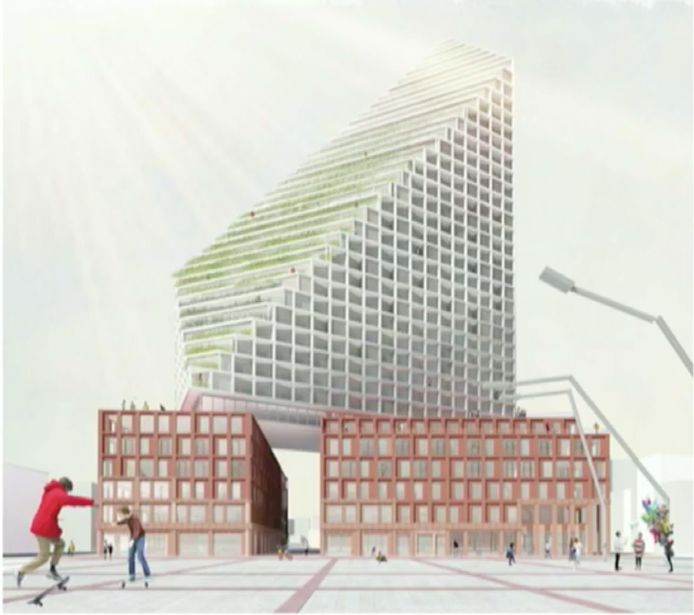 Deze schets van een nieuwbouwplan voor de noordwand van het Stadhuisplein (eigenaar GEVA BV) in Eindhoven circuleert op internet (skyscrapercity.com). Volgens het CDA komt de Catharinakerk hierbij in de schaduw te liggen.