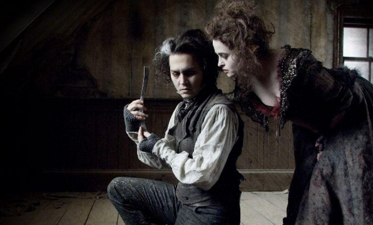 Johnny Depp en Helena Bonham Carter in 'Sweeny Todd'.