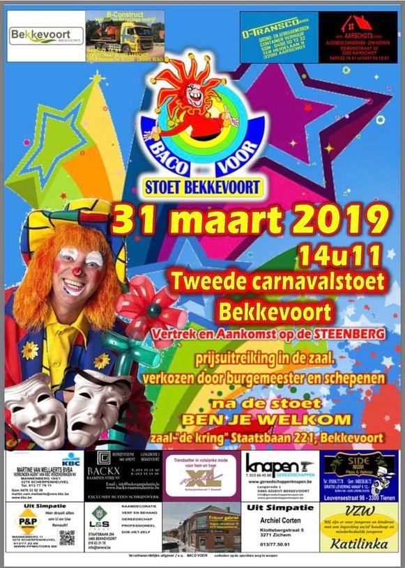 De affiche van de tweede carnavalstoet in Bekkevoort.