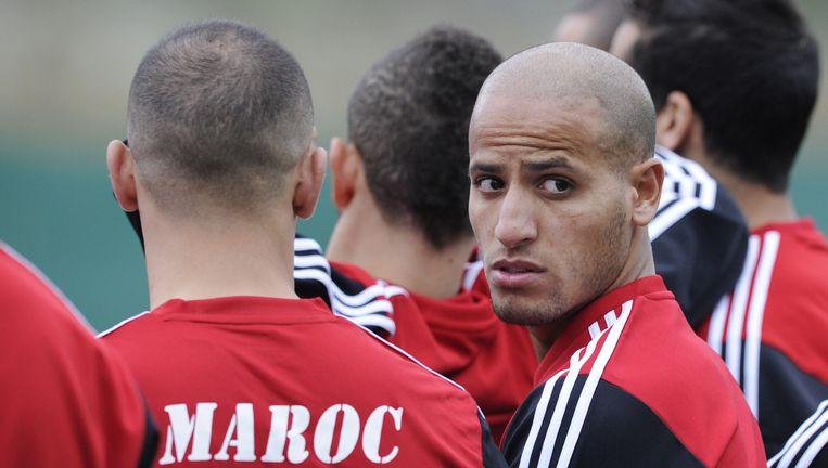 Feyenoord-speler Karim el Ahmadi op de training van Marokko. Beeld null