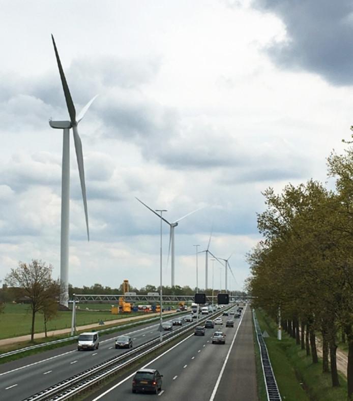 Windpark Kattenberg aan de A58.