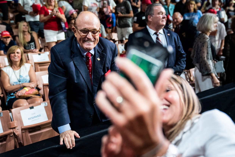 Rudy Giuliani bij een rally van president Trump in New Hampshire. Beeld Jabin Botsford/The Washington Post/Getty Images