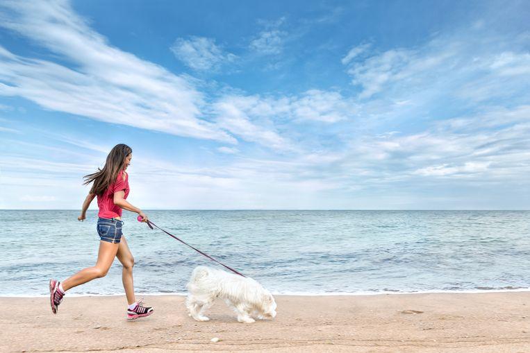Een vrouw laat haar hond uit aan zee.