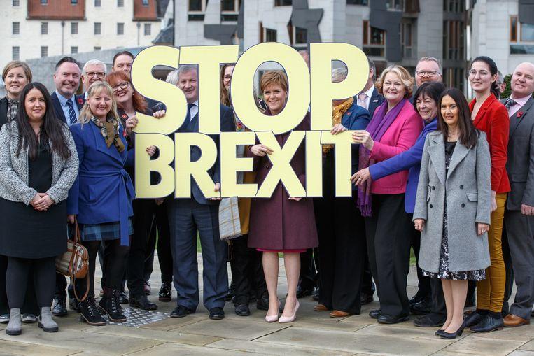 'Stop brexit' is het centrale campagnethema van de Schotse nationalisten.