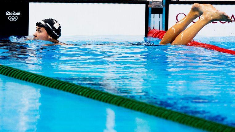Ranomi Kromowidjojo tijdens de halve finale van de 50m vrij op de Olympische Spelen. Beeld null