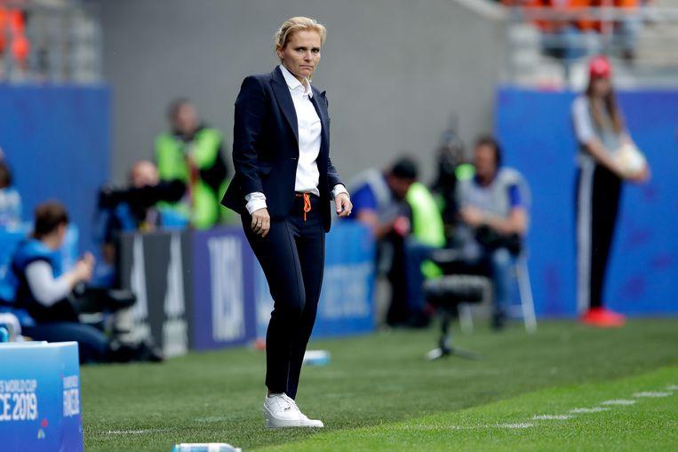 Bondscoach Sarina Wiegman tijdens Nederland – Canada op het WK.  Beeld BSR Agency