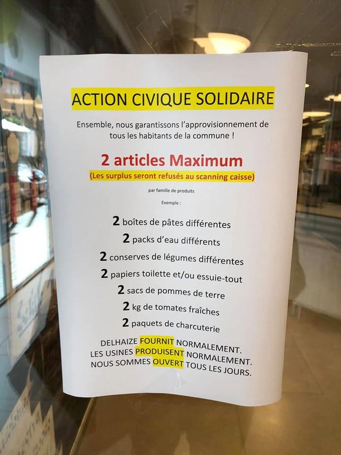 Le message délivré par l'AD Delhaize de Gosselies à ses clients.