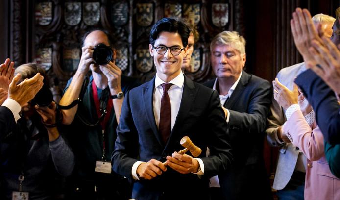 Rob Jetten tijdens de vergadering van D66.