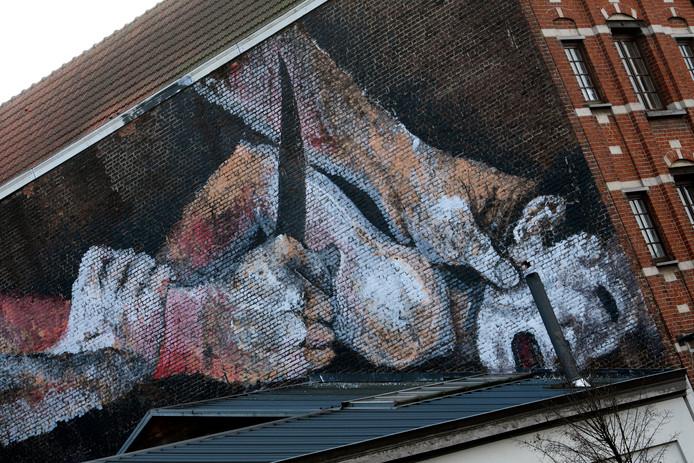 De muurtekening van de onthoofding aan de Vlaamsepoort in Brussel
