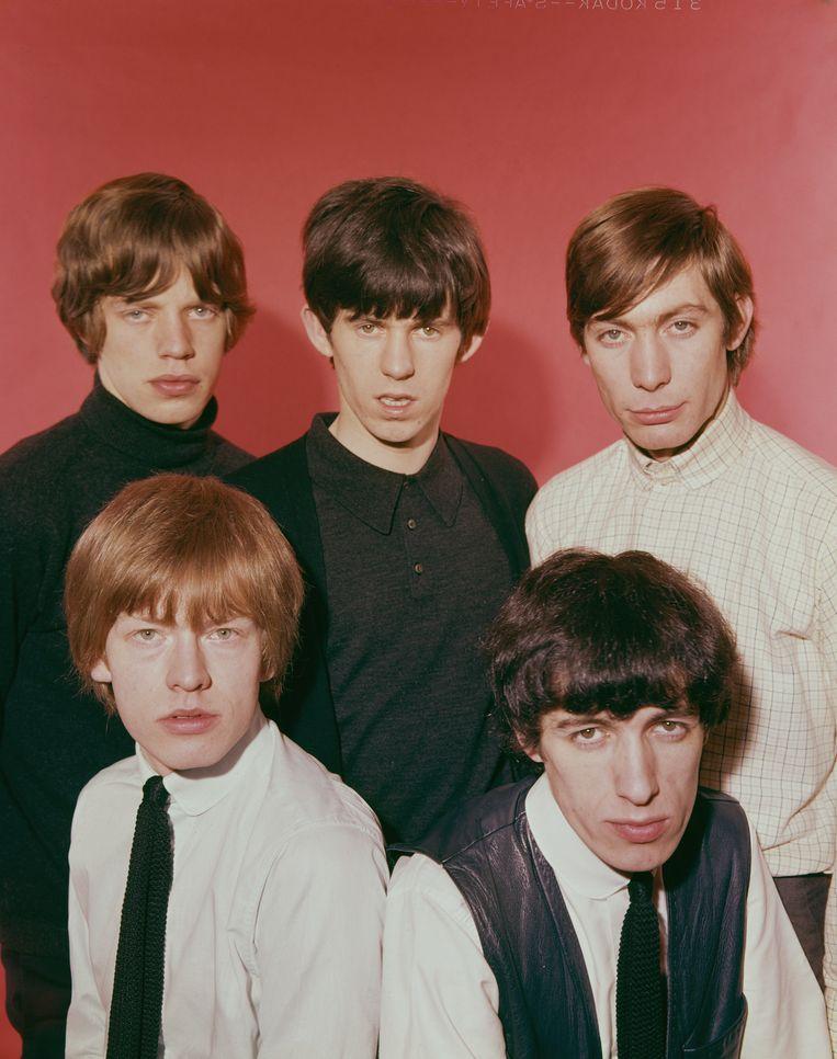 Links onderaan: de roodharige Rolling Stones-gitarist Brian Jones.