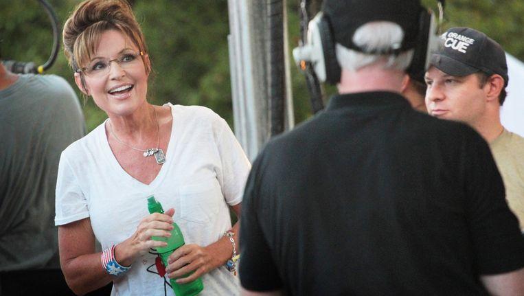 Sarah Palin, afgelopen vrijdag, tijdens haar bustoer. Beeld afp