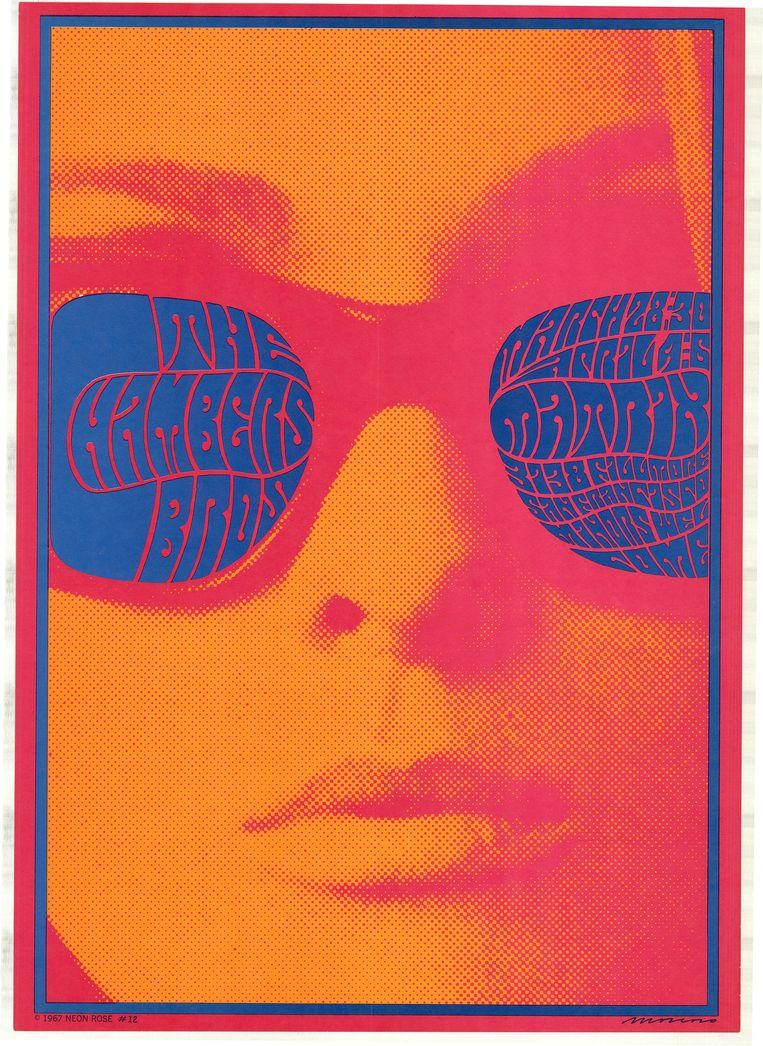 Neo-art-nouveaulettering in werk van Victor Moscoso uit 1967  Beeld Allard Pierson