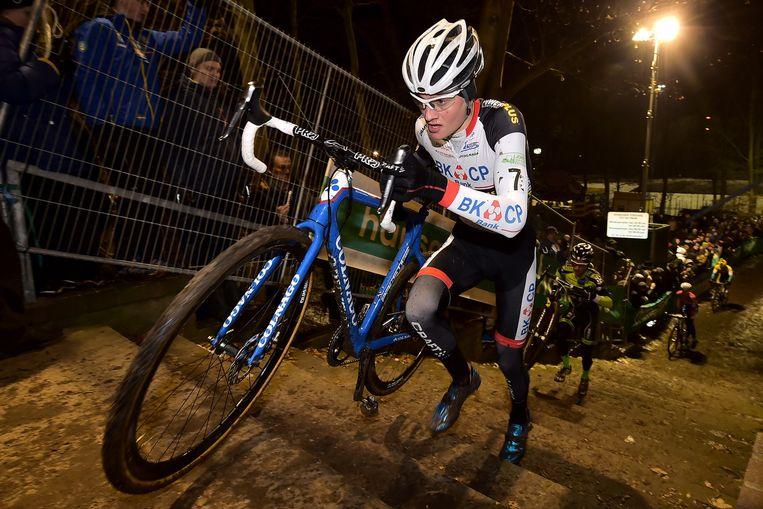 Mathieu van der Poel in actie tijdens de Superprestige in Diegem. Beeld belga