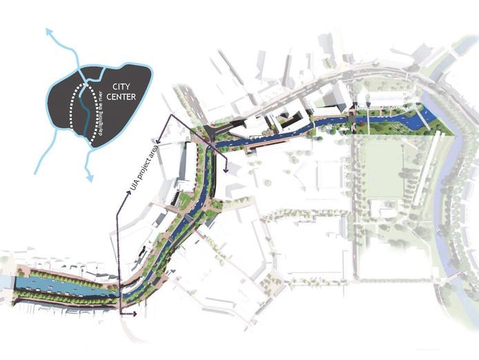 Het trace van de Nieuwe Mark langs het centrum van Breda.