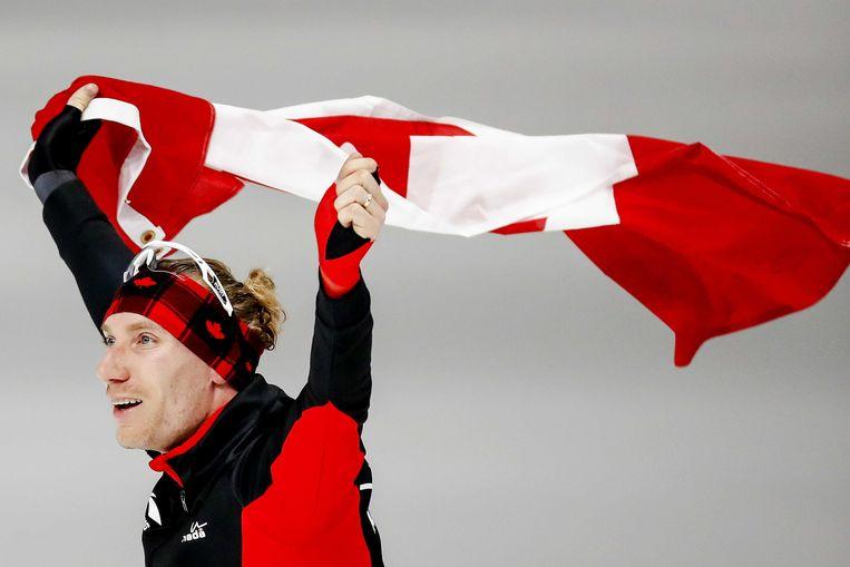 Ted-Jan Bloemen in de Gangneung Oval na de 10.000 meter op de Olympische Winterspelen van Pyeongchang.  Beeld ANP