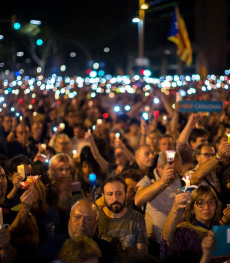 Massaal protest tegen opsluiting Catalaanse leiders