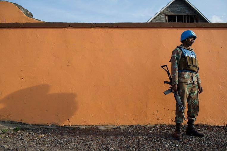 Een vredeshandhaver van de VN in Goma. Beeld afp
