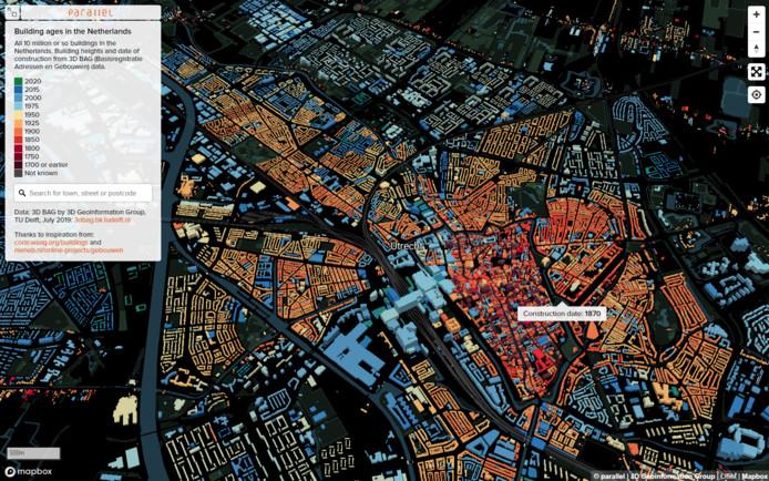Interactieve kaart Nederland naar bouwjaar gebouwen