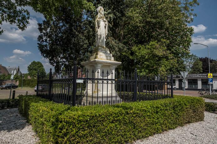 Ook de buxus rond het Heilighartbeeld in het centrum van SintHubert bleef ook niet gespaard.